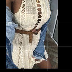 Free people cream embroidered dress with cut out